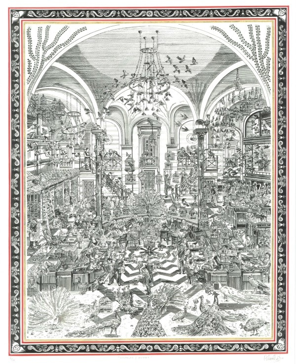 Adam Dant Wolesley (Aviary), 2019 Hand-tinted lithograph on 300 gsm Somerset satin paper with gold leaf border 109 x 74 cm Edition of 10
