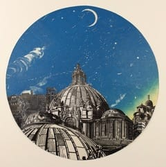 Anne Desmet Italian Light, 2018 Lithograph, wood engraving and monotype prints on paper collaged under convex glass 33 cm (diameter)
