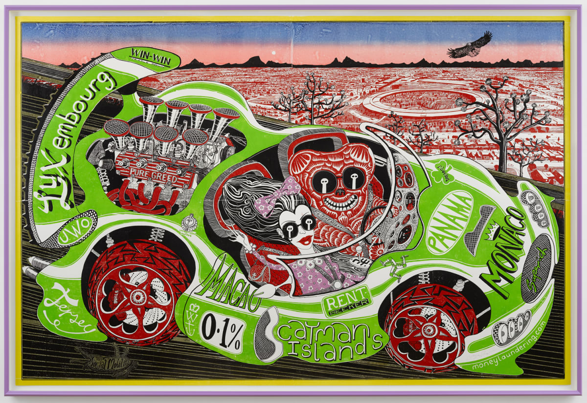 Grayson Perry Sponsored by You, 2019 A single woodcut from 8 blocks 196 x 293 cm Edition of 15