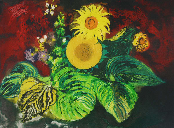 John Piper Sunflowers, 1989 Etching and aquatint 40.5 x 55 cm edition of 75 with 15 artist's proofs and 5 printer's proofs