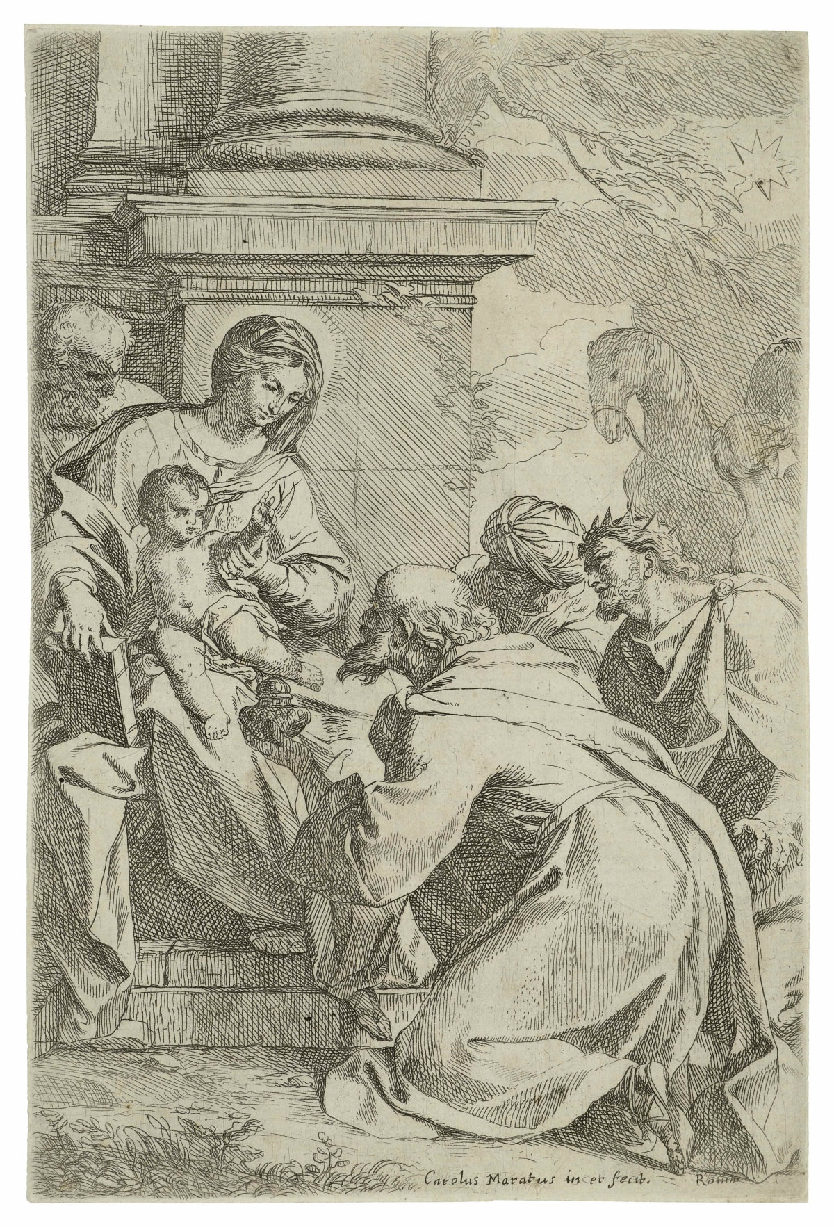 Carlo Maratti The Adoration of the Magi, with a camel in the background, 1625 - 1713 Etching Size of sheet: 21 x 14 cm.