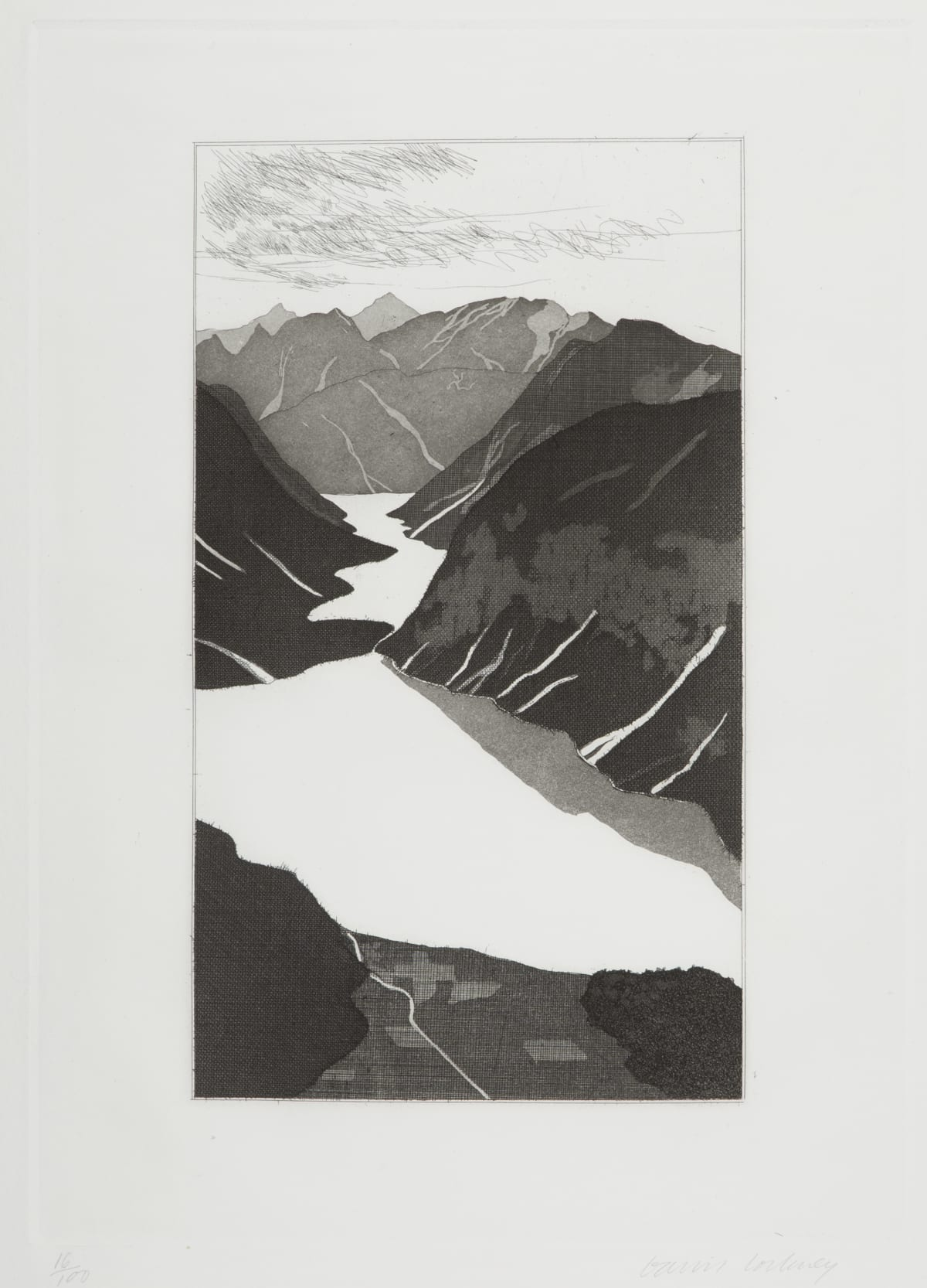 David Hockney The Lake, 1969 Etching and Aquatint Image Size: 44.2 x 31.8 cm / Paper Size: 62 x 44.7 cm Edition of 100