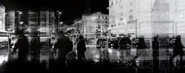 Katsutoshi Yuasa Piccadilly Circus at 19:33, 2019 Oil-based woodcut on paper 85 x 205 cm Edition of 5
