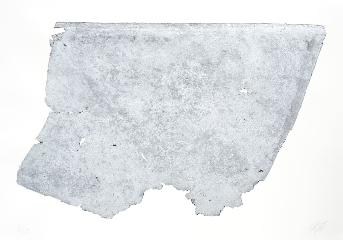 Alexander Arundell Big Silver Thing Printed from a debris scrap metalpart of a roof of a torn down house 70 x 100 cm