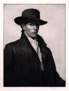 Raymond Ray-Jones R.E. Portrait of the Artist, c. 1910-16 Etching