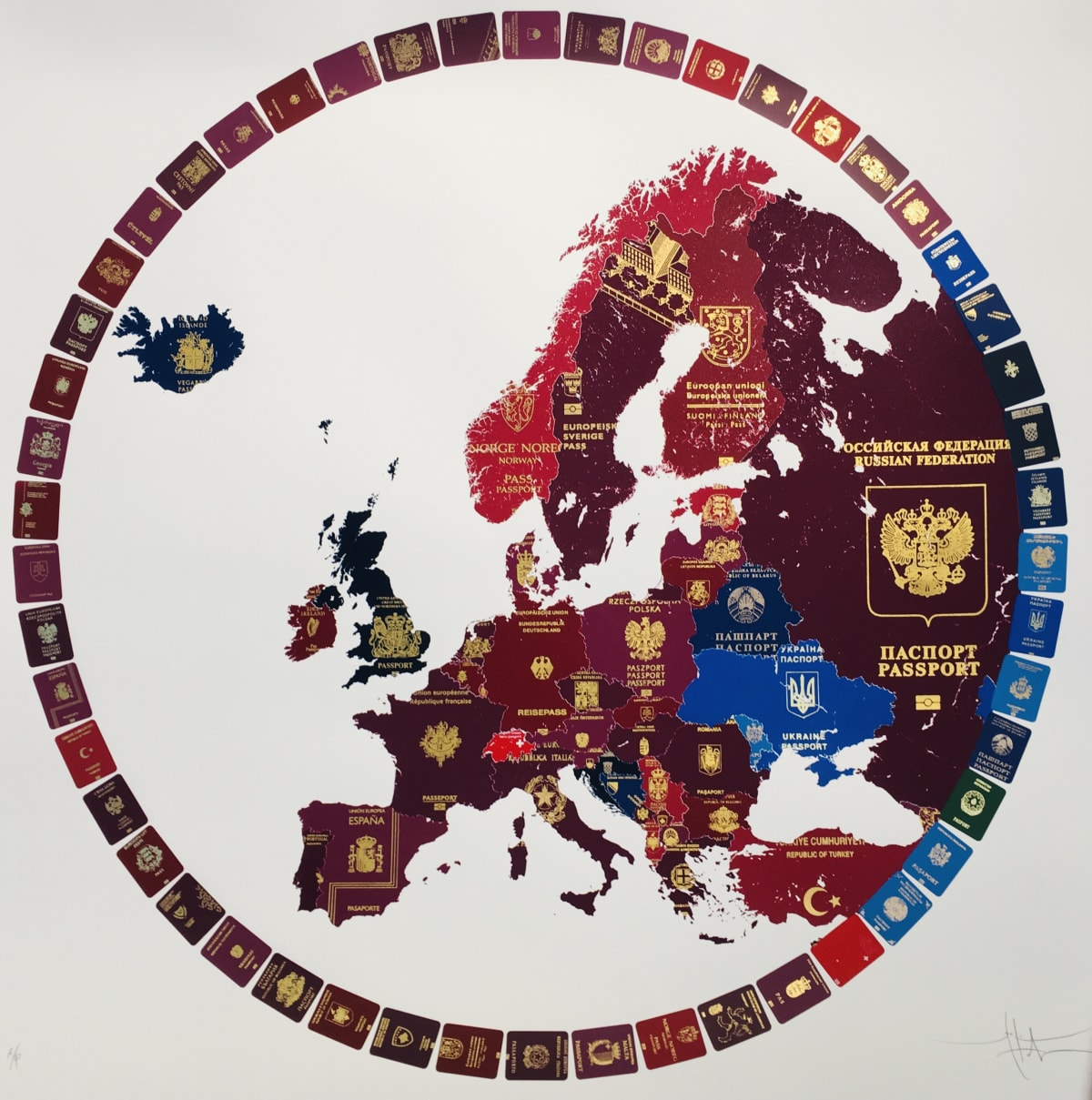 Yanko Tihov Europe 2019 (Blue Britain), 2018 Multicolour silkscreen on Somerset cotton paper with shades of genuine gold leaf 97x 97 cm Edition of 25