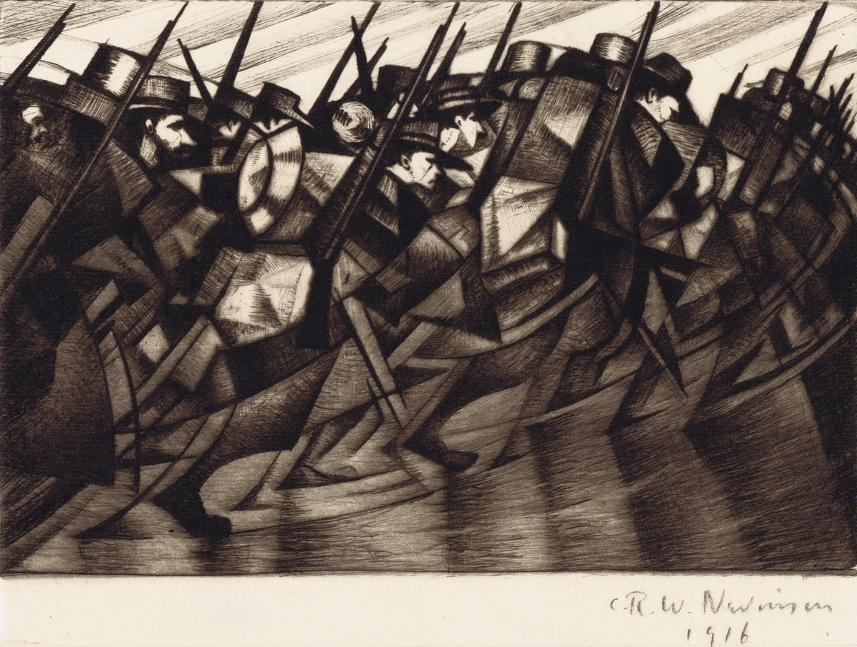 C.R.W. Nevinson Returning to the Trenches, 1916 Etching and Drypoint Image: 15 x 19.8 cm Paper: 21.5 x 28.1 cm Edition of 75