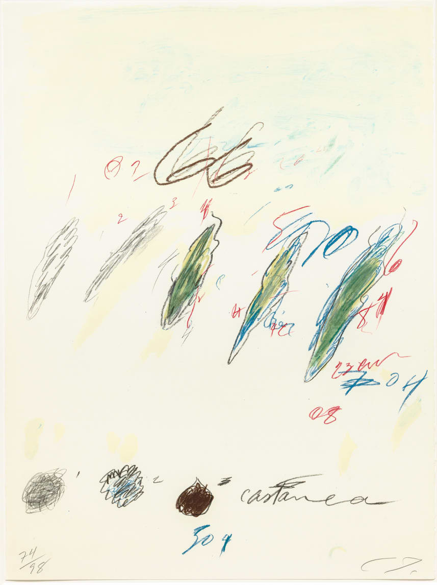 Cy Twombly Natural History II, Some Trees of Italy (D), 1975-76 Portfolio of eight prints. Mixed media technique: Lithograph, grano-lithograph, collotype on Fabriano paper Each sheet: 76 x 56.5 cm Frame: 87 x 67 x 4.2 cm Edition of 98 + 17 AP + 1 PP + 1 SP