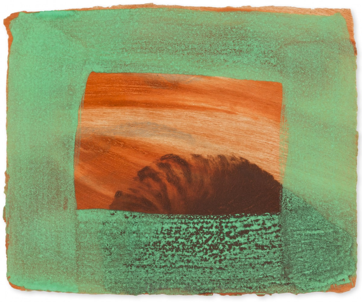 Howard Hodgkin After Degas, 1990-91 Intaglio print with carborundum printed in red ochre, burnt Sienna, chrome yellow and raw umber and grey with handcolouring in veronese green egg tempera, οn Aquarelle Larroque moulins de Larroque et Pombie paper 25.5 x 32.0 cm Edition of 80