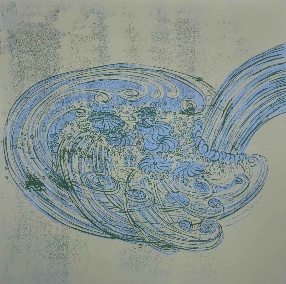Yoko Omomi Whirlpool (after da Vinci), 2019 Linocut 40 x 40 cm