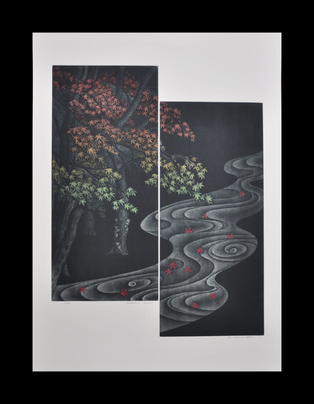 Katsunori Hamanishi Gradation Leaves, 2019 Mezzotint 58 x 45 cm image size Edition of 50