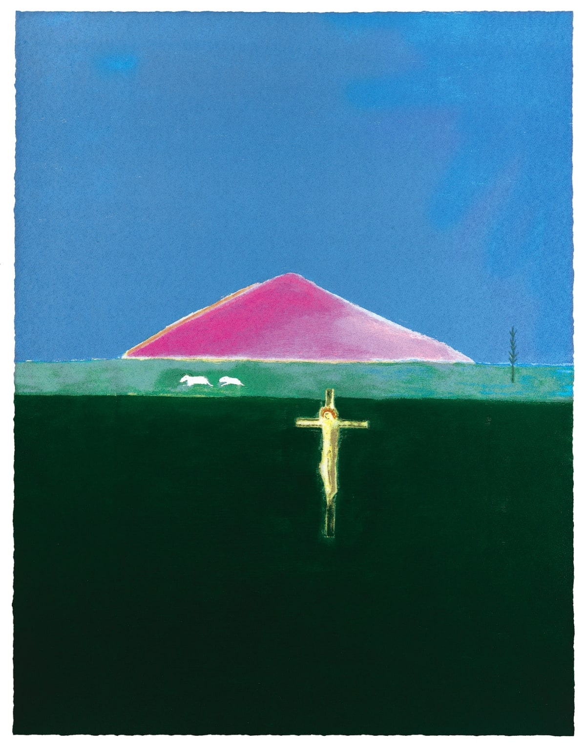 Craigie Aitchison Crucifixion and Mountain, 2005 screenprint 110.5 x 85.25cm edition of 75