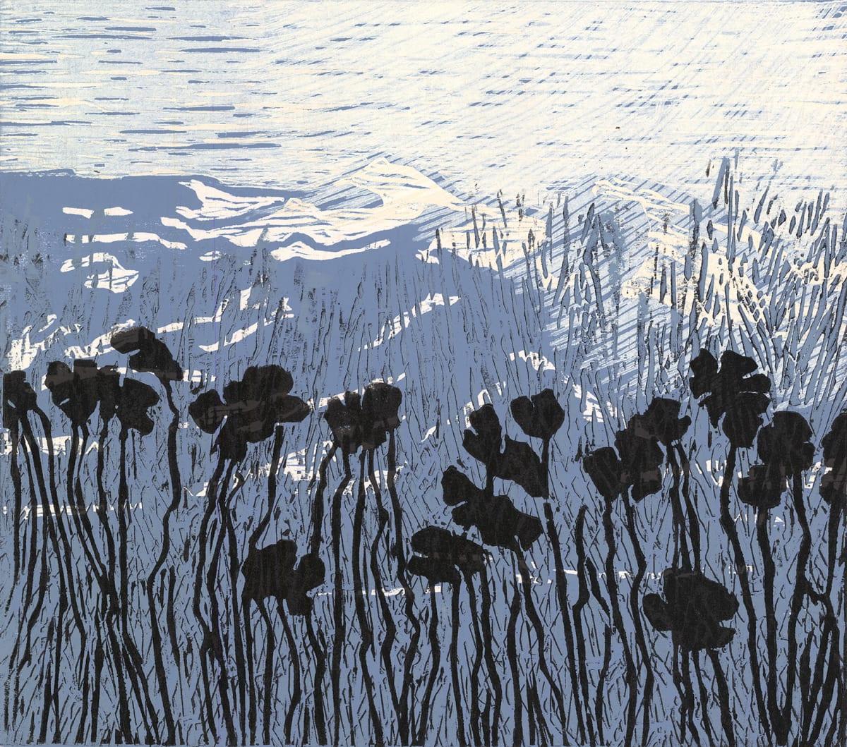 Patrick Huse Dark Flowers in Misty Mountains, 2019 Woodcut 47 x 53