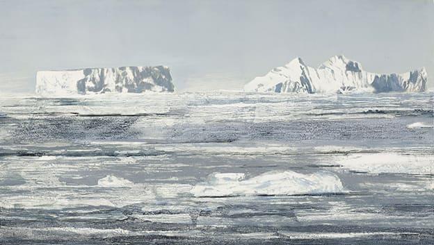 Ellen Karin Mæhlum Icescape Carborundum, stencil on Arches 300g 67 x 115