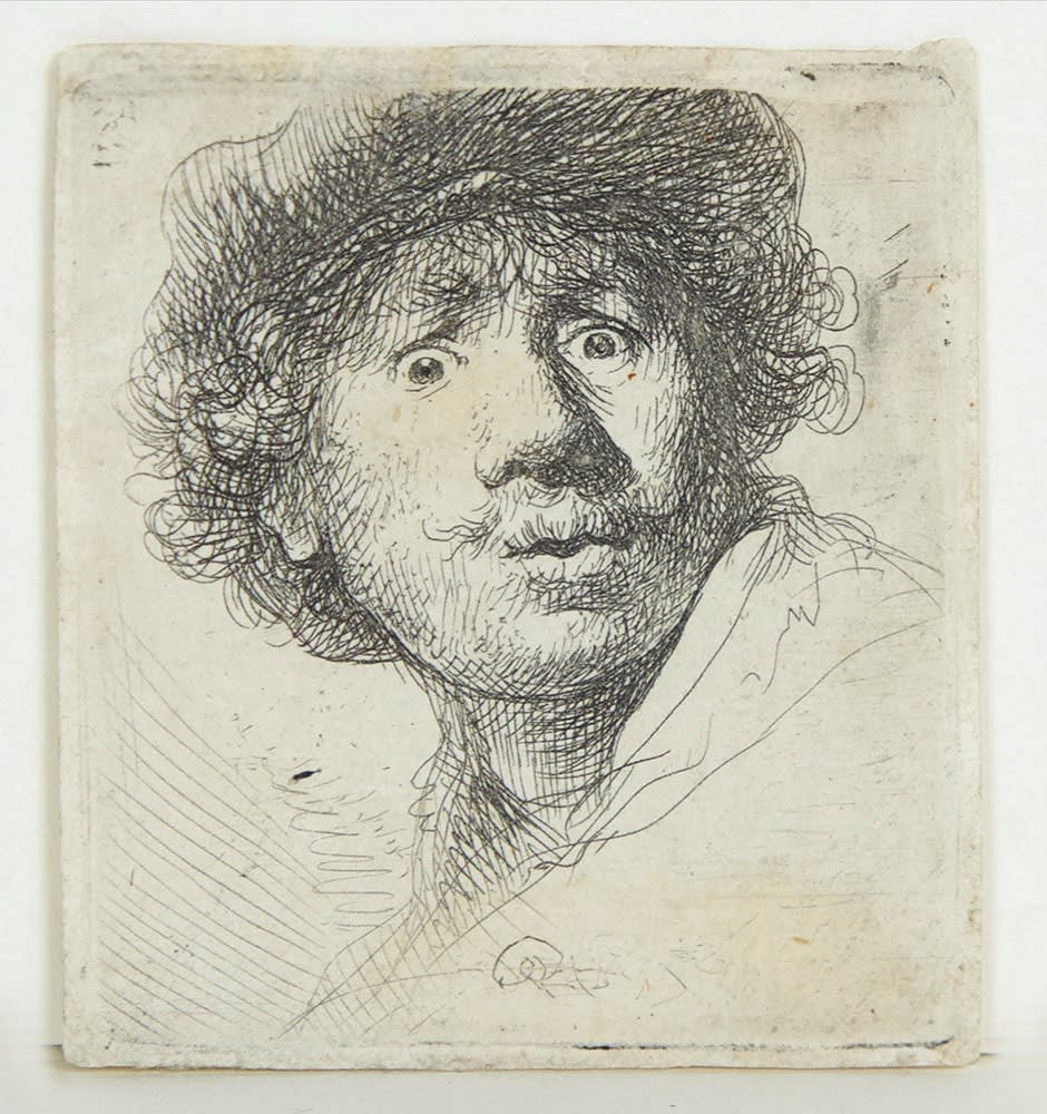Harmenszoon van Rijn REMBRANDT Self-portrait in a Cap, Wide-eyed and Open-mouthed., 1630 Original etching. 5,3 x 4,6 cm.