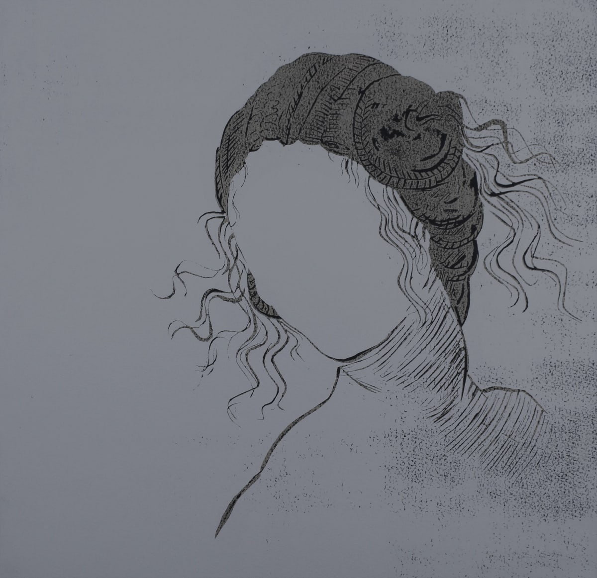 Yoko Omomi Leda (after da Vinci), 2019 Linocut 40 x 40 cm