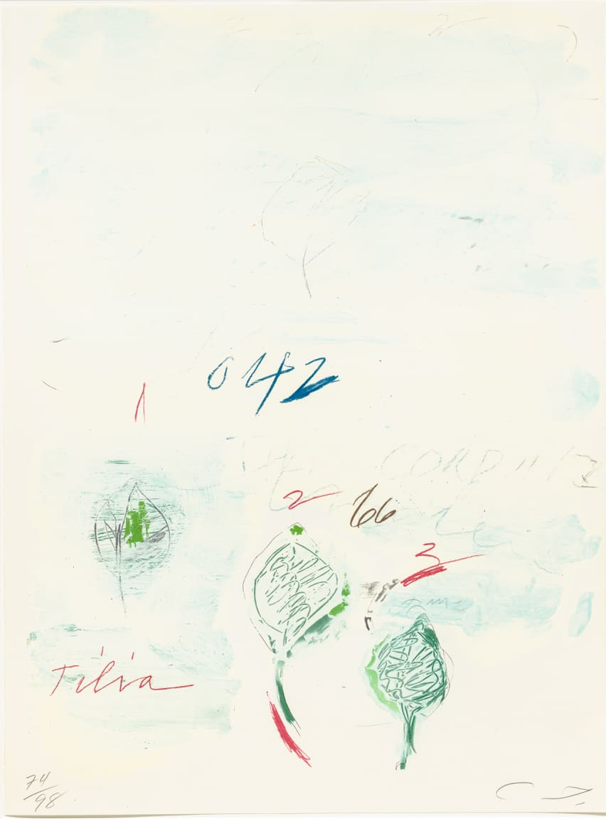 Cy Twombly Natural History II, Some Trees of Italy (F), 1975-76 Portfolio of eight prints. Mixed media technique: Lithograph, grano-lithograph, collotype on Fabriano paper Each sheet: 76 x 56.5 cm Frame: 87 x 67 x 4.2 cm Edition of 98 + 17 AP + 1 PP + 1 SP