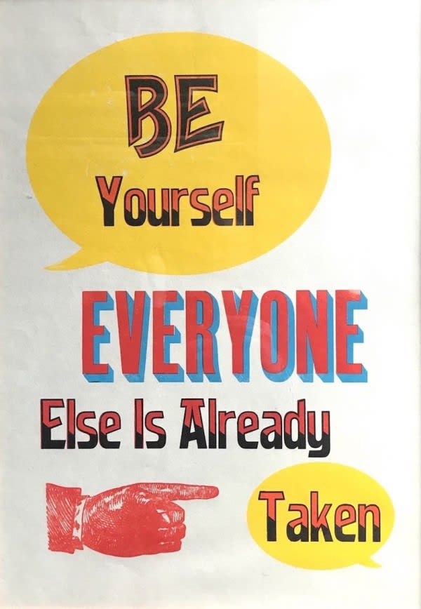 Stephen Kenny Be Yourself, 2019 Letterpress print on Bunkoshi 70g 30% Kozo (Mulberry) paper 64 x 45 cm Edition of 20