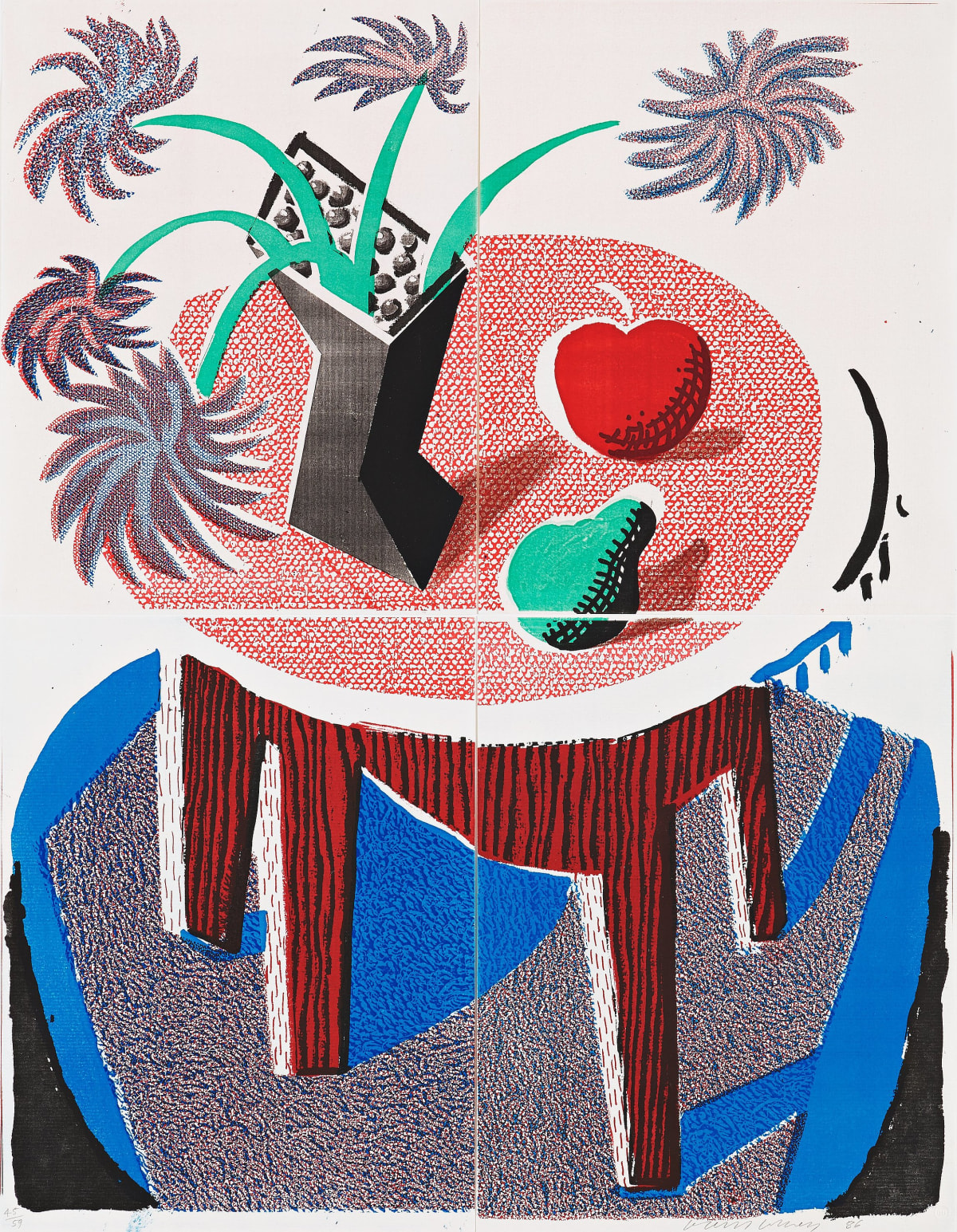 David Hockney Flowers, Apple & Pear on a Table, July 1986, 1986 Home made print in colours executed on an office colour copy machine, on four sheets of Arches rag paper 55.9 x 43.2 cm Edition of 59