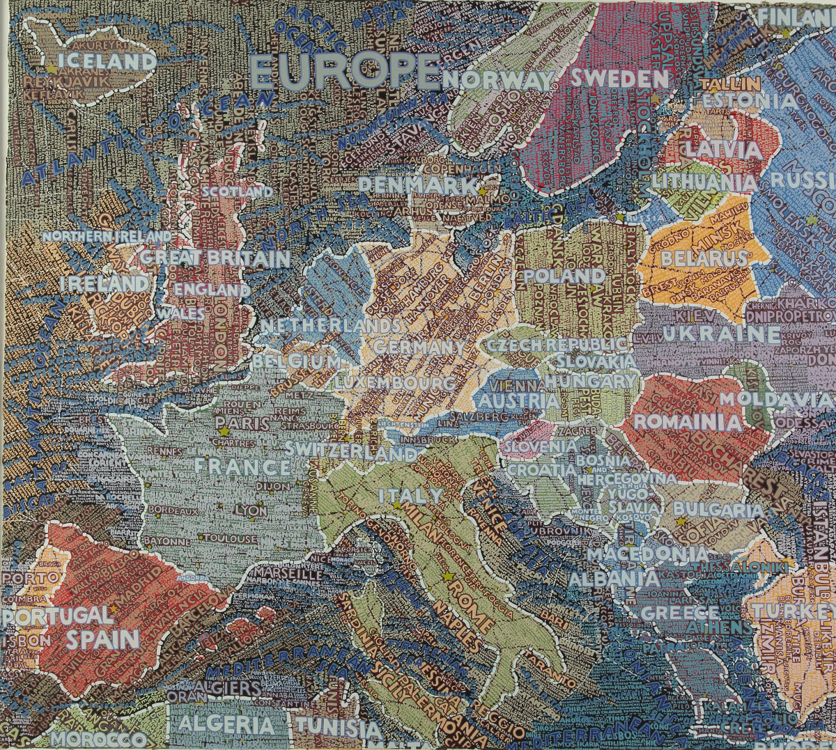 Paula Scher Europe, 2009 Hand pulled screenprint in colours on Deluxe Lana Quarelle paper from France 105.4 x 118 cm Edition of 90