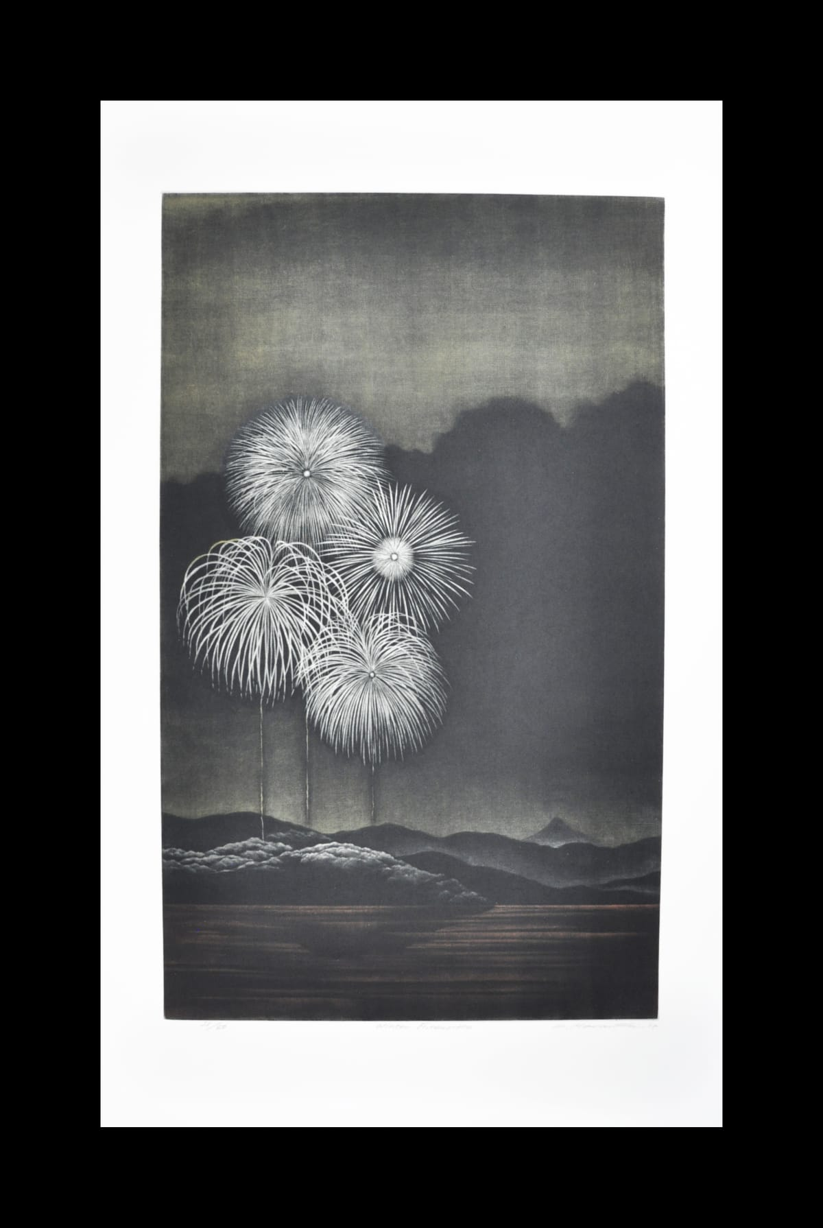 Katsunori Hamanishi Winter Fireworks, 2019 Mezzotint 60 x 36 cm image size Edition of 50