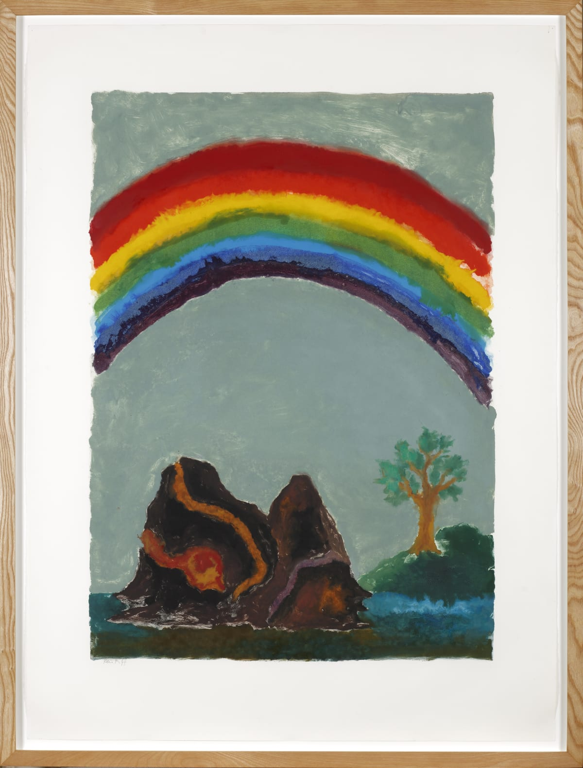 Ken Kiff Bright Rainbow, Tree and Hills (A1m), 1989, monotype, 1989 Monotype