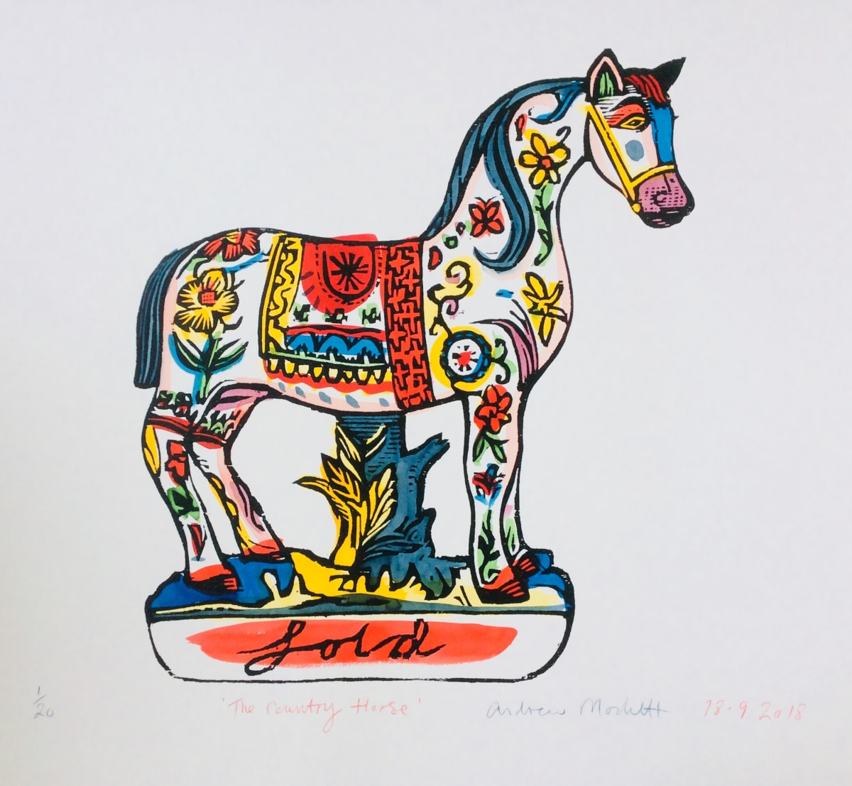 Andrew Mockett The Country Horse , 2018 screen printed woodcut, hand painted with calligraphy inks on Bockingford paper 136 x 167cm Edition of 20