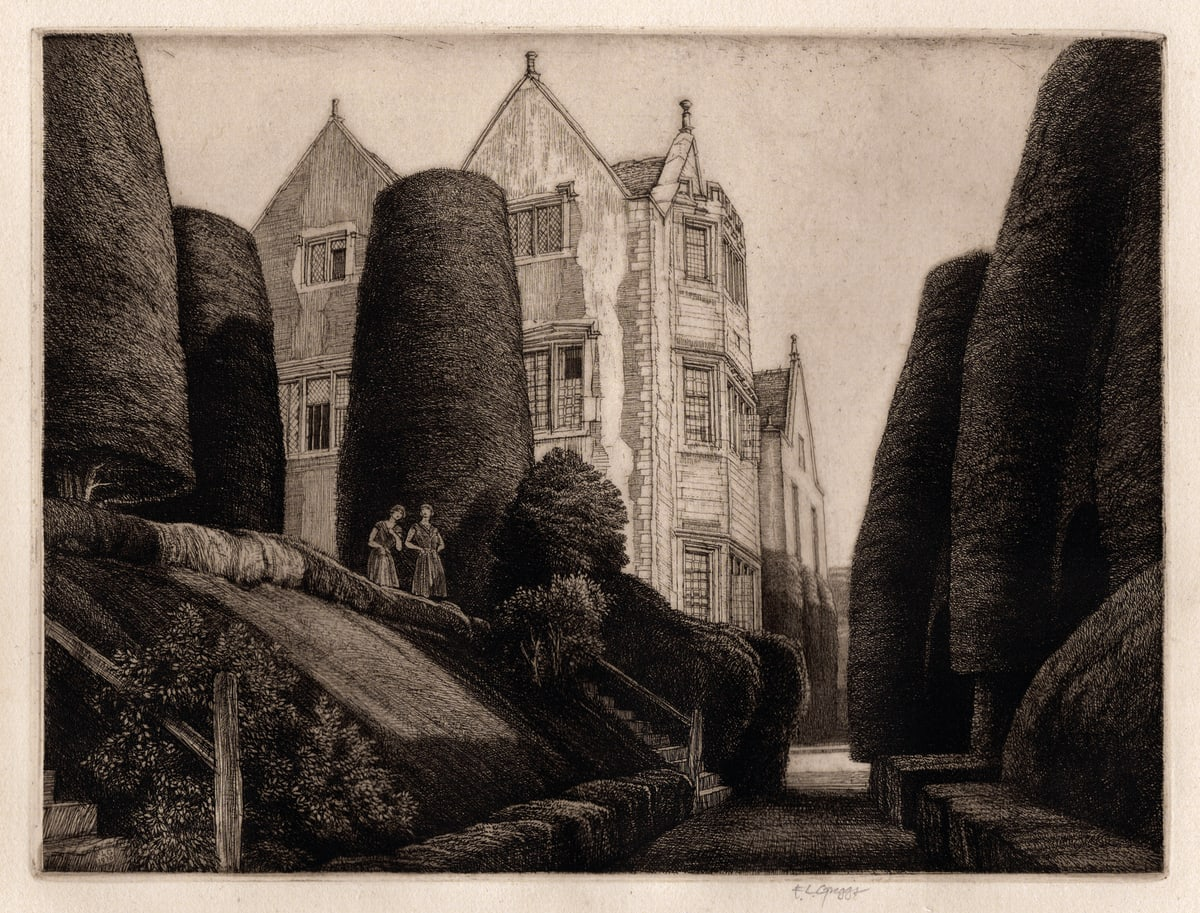 F.L.Griggs Owlpen Manor, 1930 Etching Image Size: 19.3 x 25.4 cm / Paper Size: 32 x 42 cm Edition of 48 in the second state