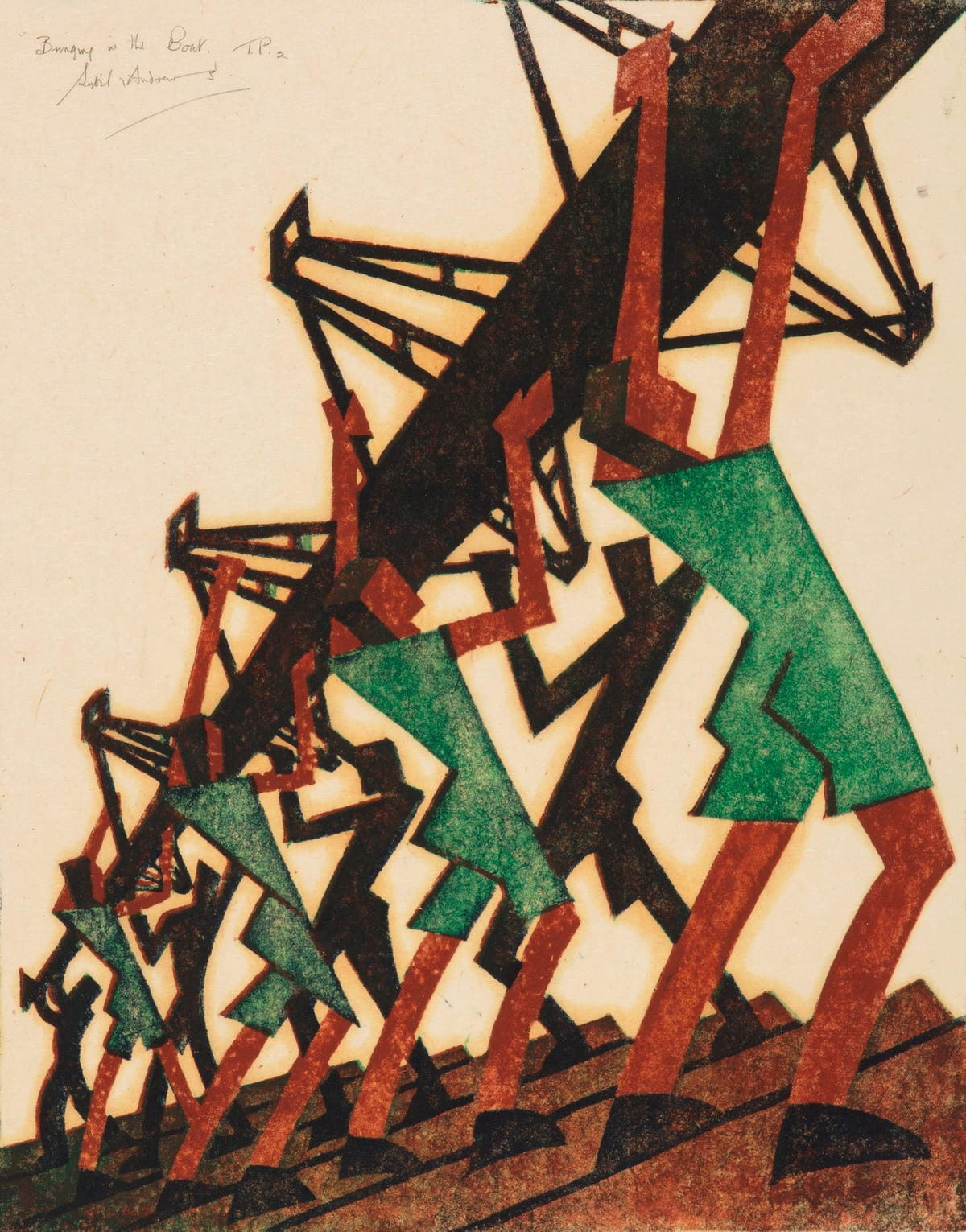 Sybil Andrews Bringing in the Boat, 1933 Linocut Image Size 33 x 25.9 cm Paper Size 37 x 30.2 cm Trial proof 2, 'T. P. 2', one of three trial proofs aside from the edition of 60.