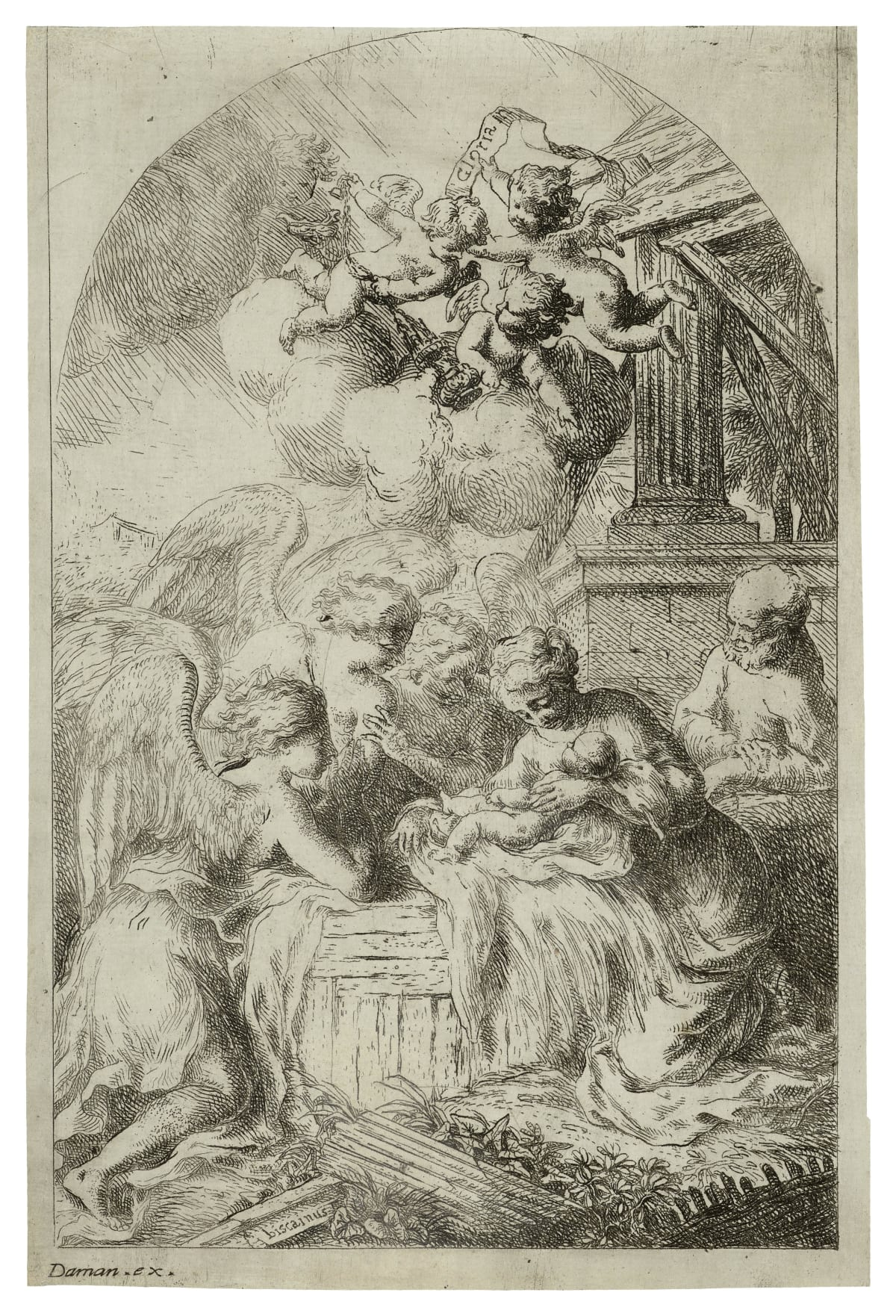 Bartolomeo Biscaino Nativity with three angels, 1629 – 1657 Etching Size of sheet: 20.6 x 13.6 cm.