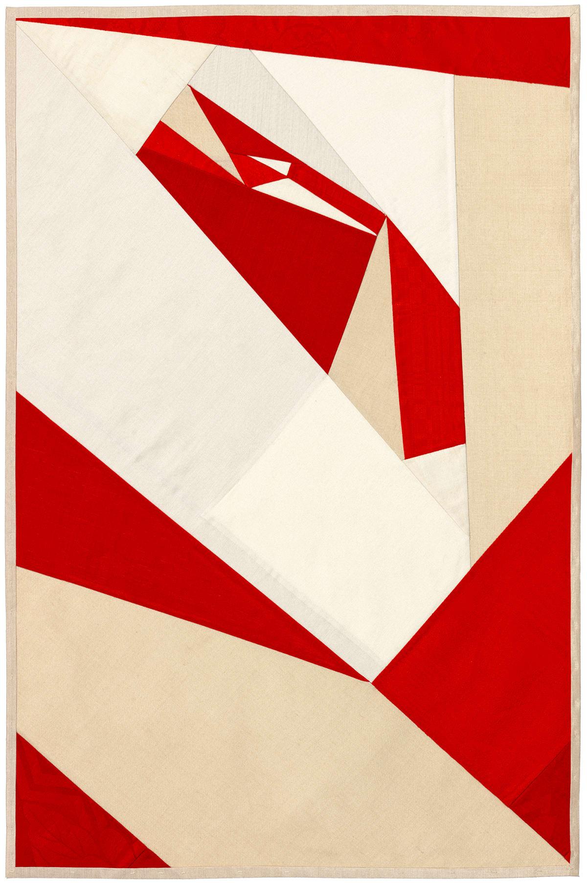 Debra Smith Seeing Red Series, 4, 2019 pieced vintage silk 28 x 19 in.