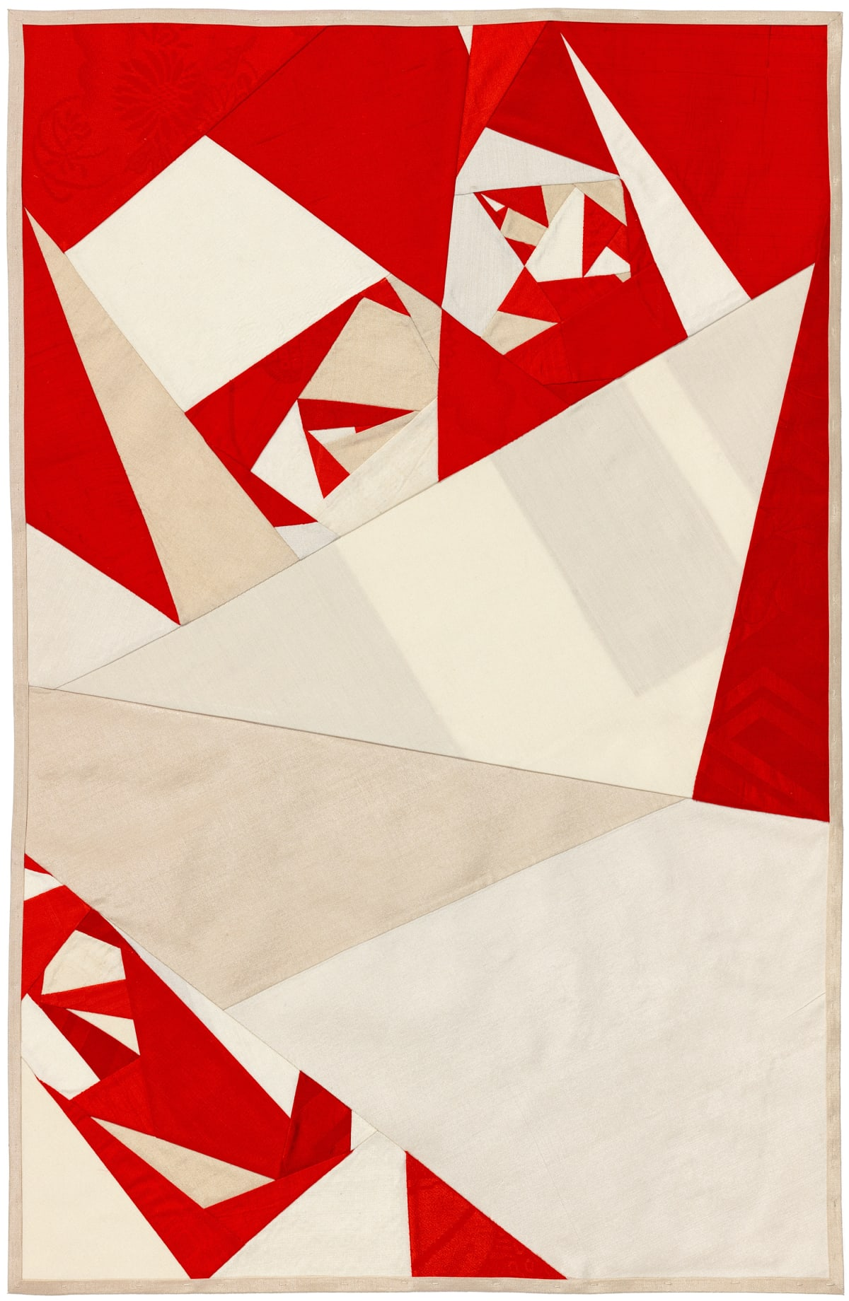 Debra Smith Seeing Red Series, 1, 2019 pieced vintage silk 28 x 19 in.