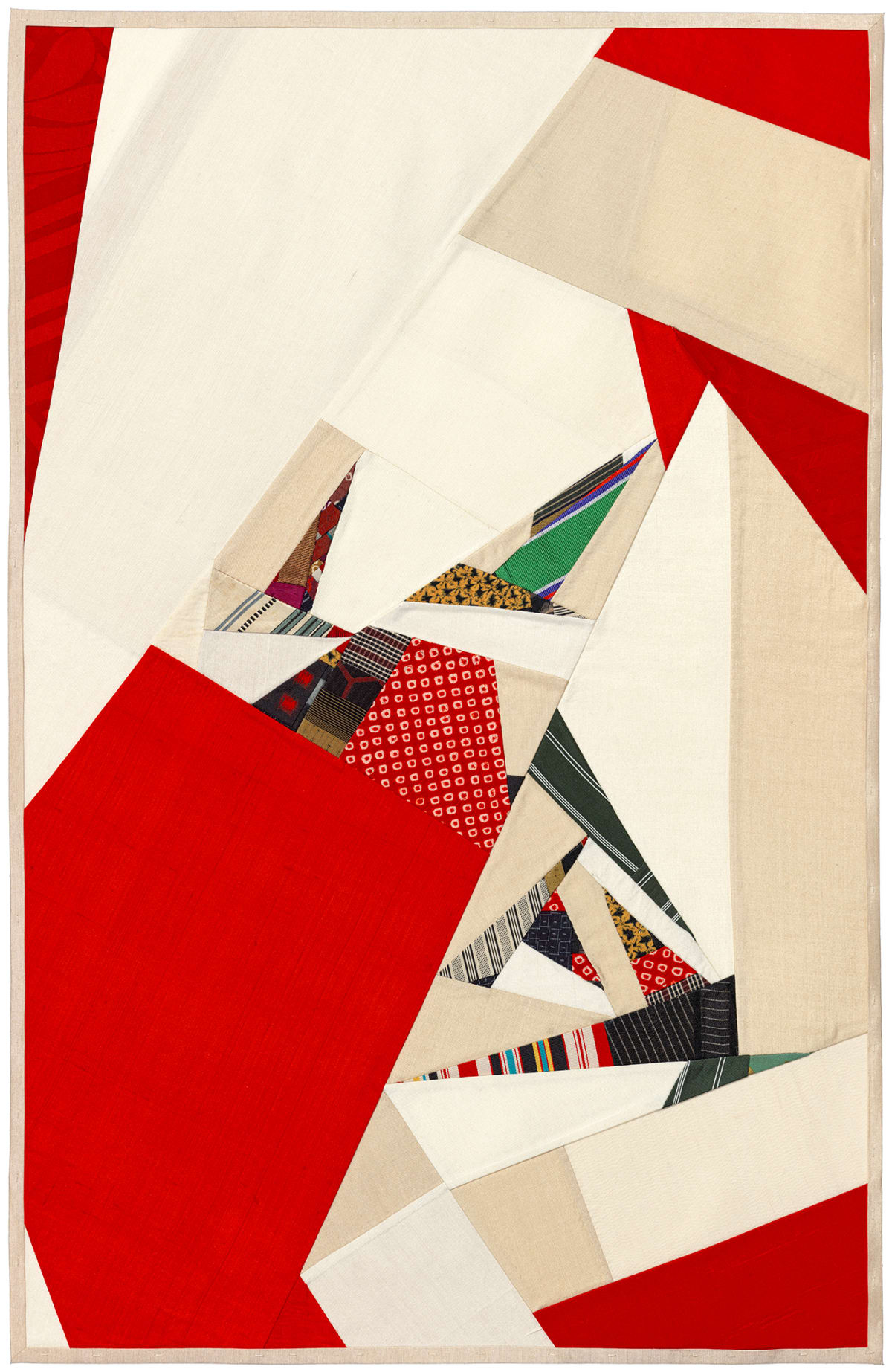 Debra Smith Seeing Red Series, 6, 2019 pieced vintage silk 28 x 19 in.