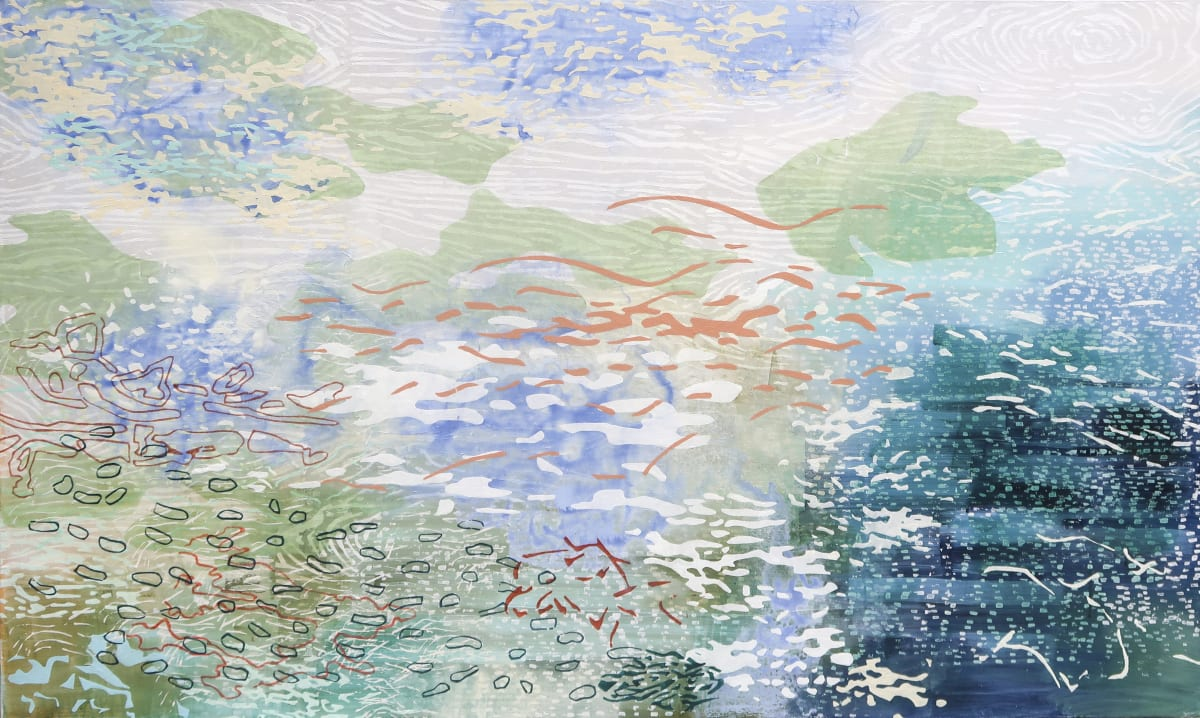 Laura Fayer Float Tide, 2019 acrylic and Japanese paper on canvas 36 x 60 in.