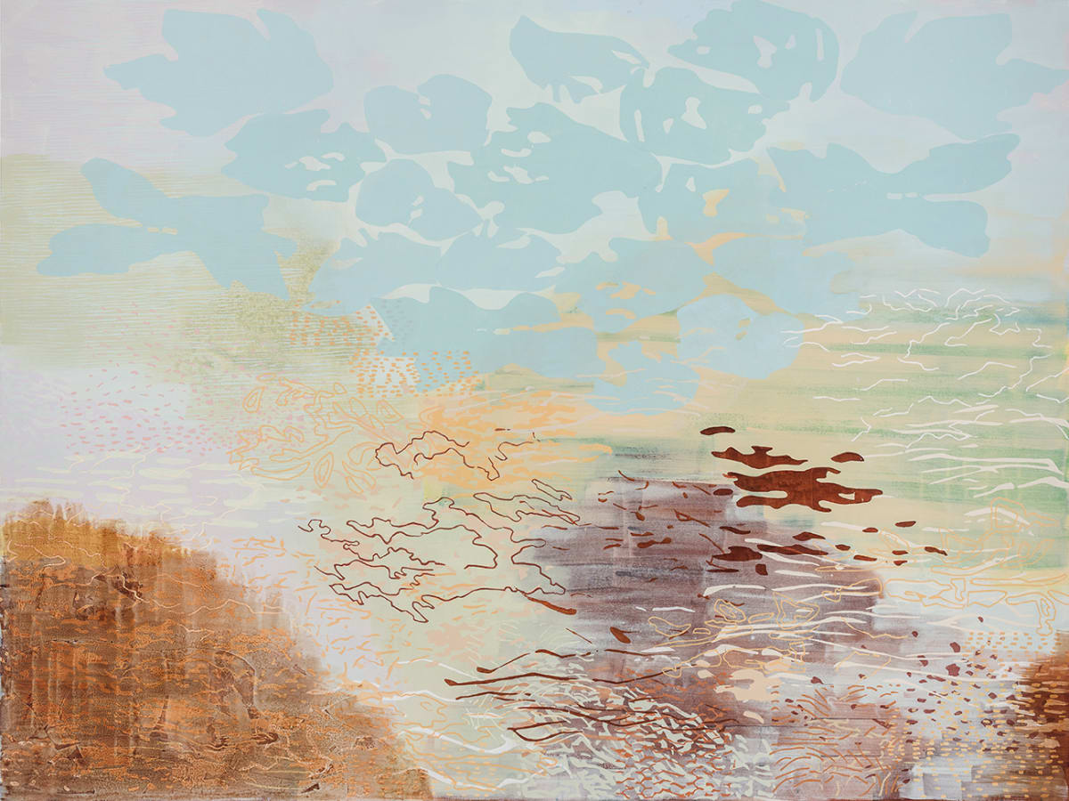 Laura Fayer Pioneer Spirit, 2019 acrylic and Japanese paper on canvas 54 x 72 in.