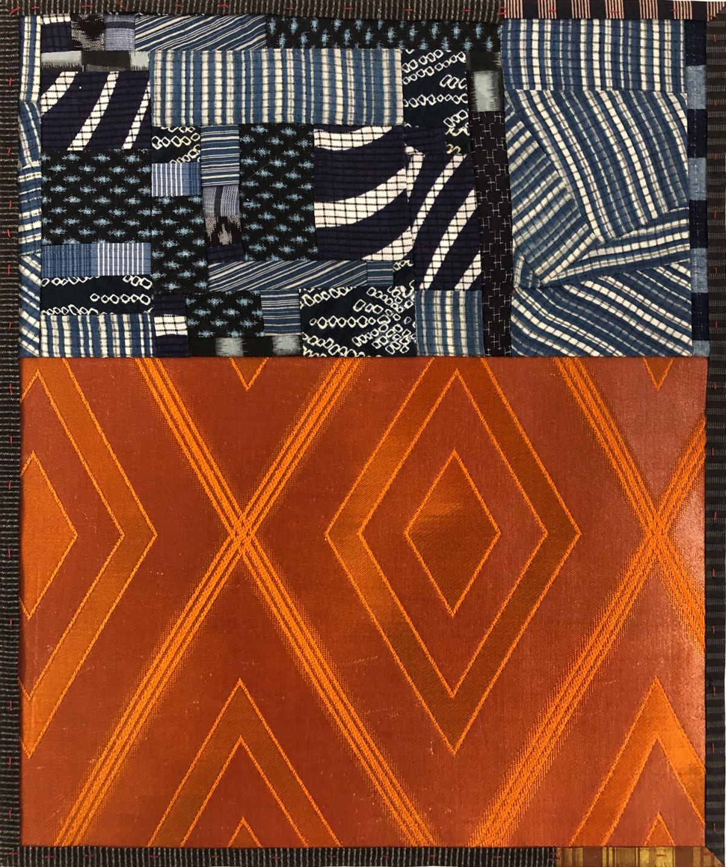 Debra Smith Talking Stories 4, 2020 pieced vintage silk 13 1/2 x 11 1/4 in