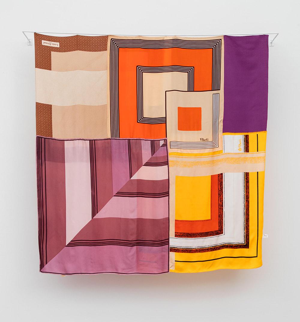 Deborah Zlotsky For sure 100%, 2019 vintage scarves 47 x 45 in.