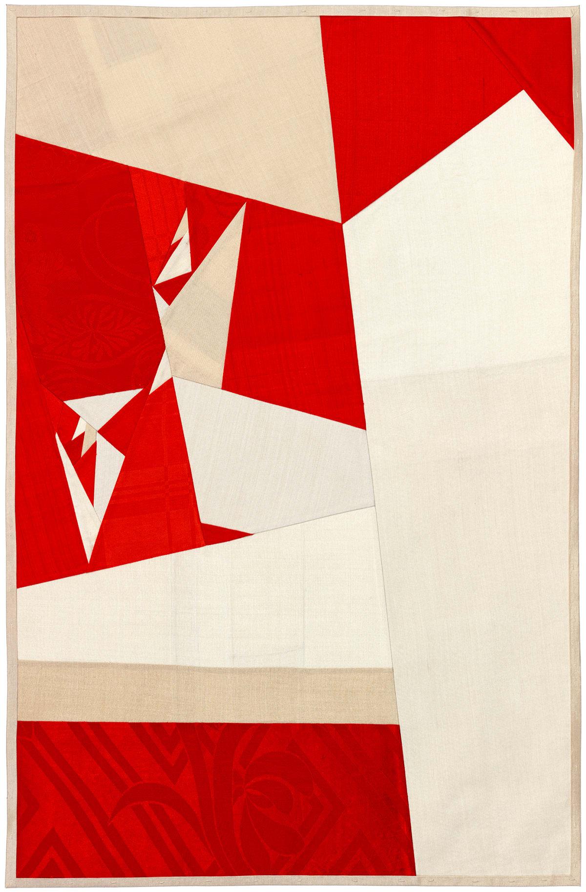 Debra Smith Seeing Red Series, 2, 2019 pieced vintage silk 28 x 19 in.