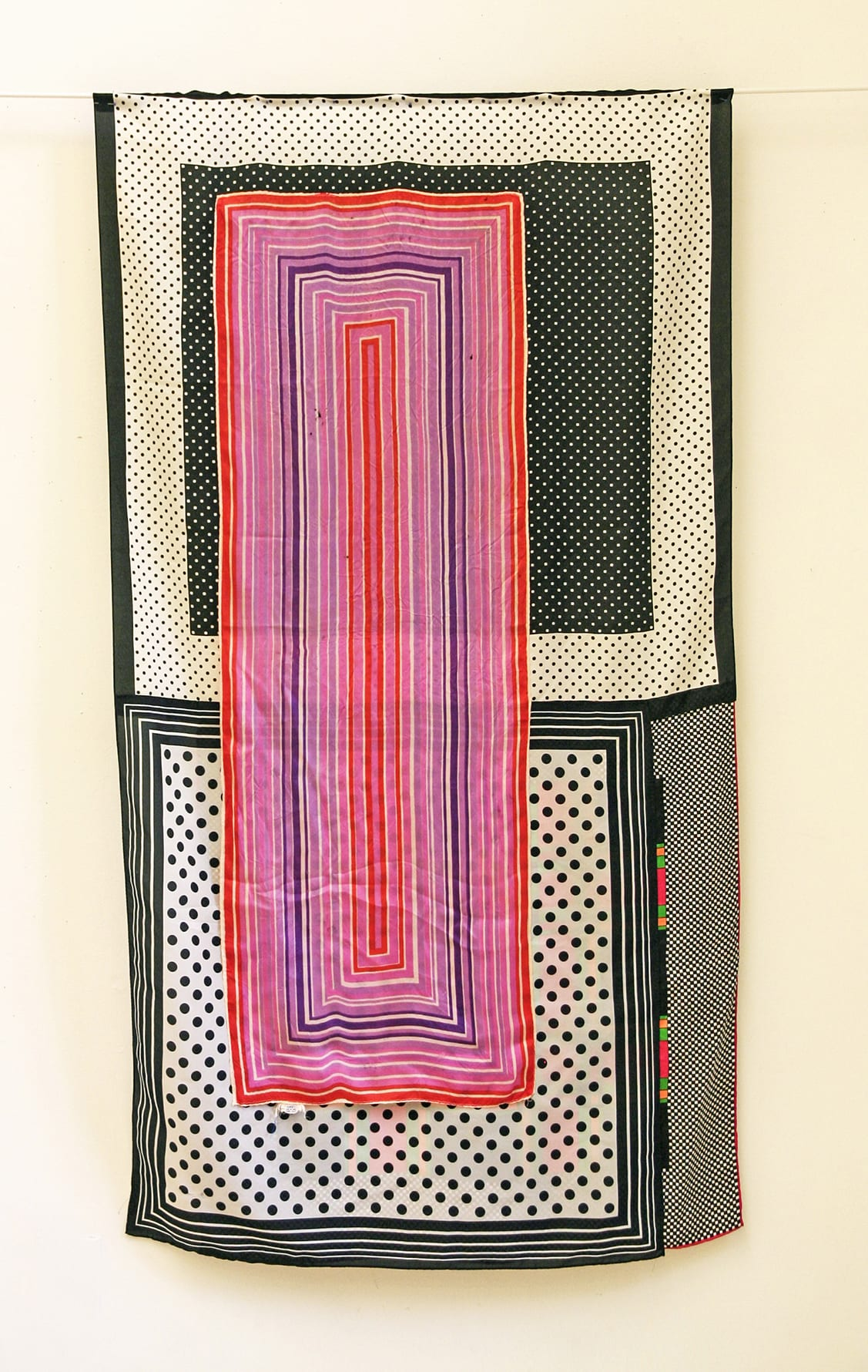 Deborah Zlotsky A peculiar influence, subduing them into receptiveness, 2019 vintage scarves 56 x 30 in.
