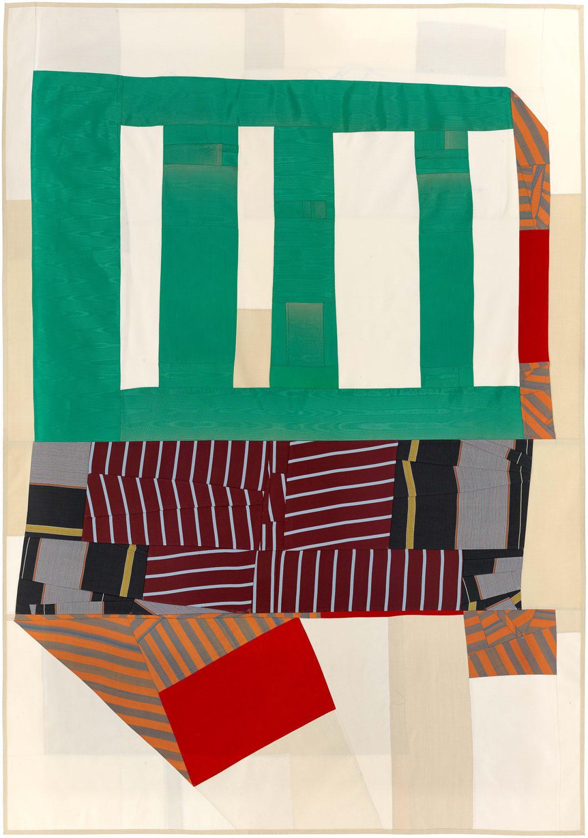 Debra Smith Not Looking, 1, 2015 pieced vintage silk 63 x 45 in.
