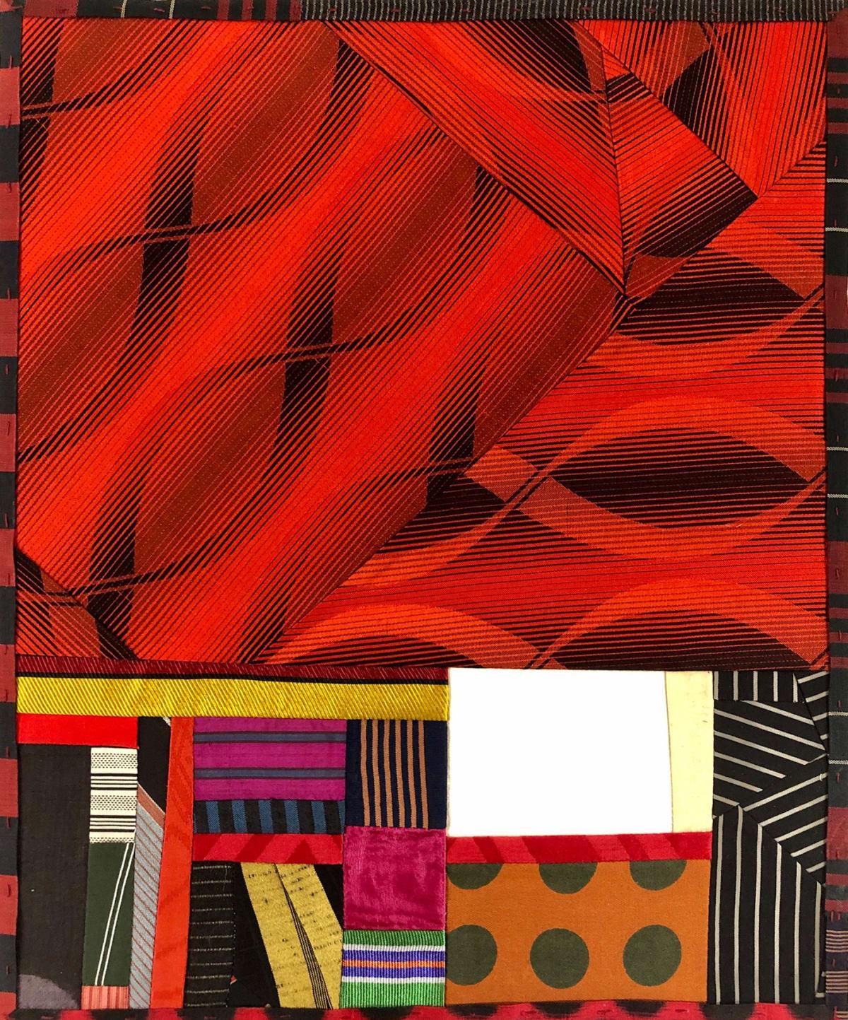 Debra Smith Talking Stories 9, 2020 pieced vintage silk 13 1/2 x 11 1/4 in