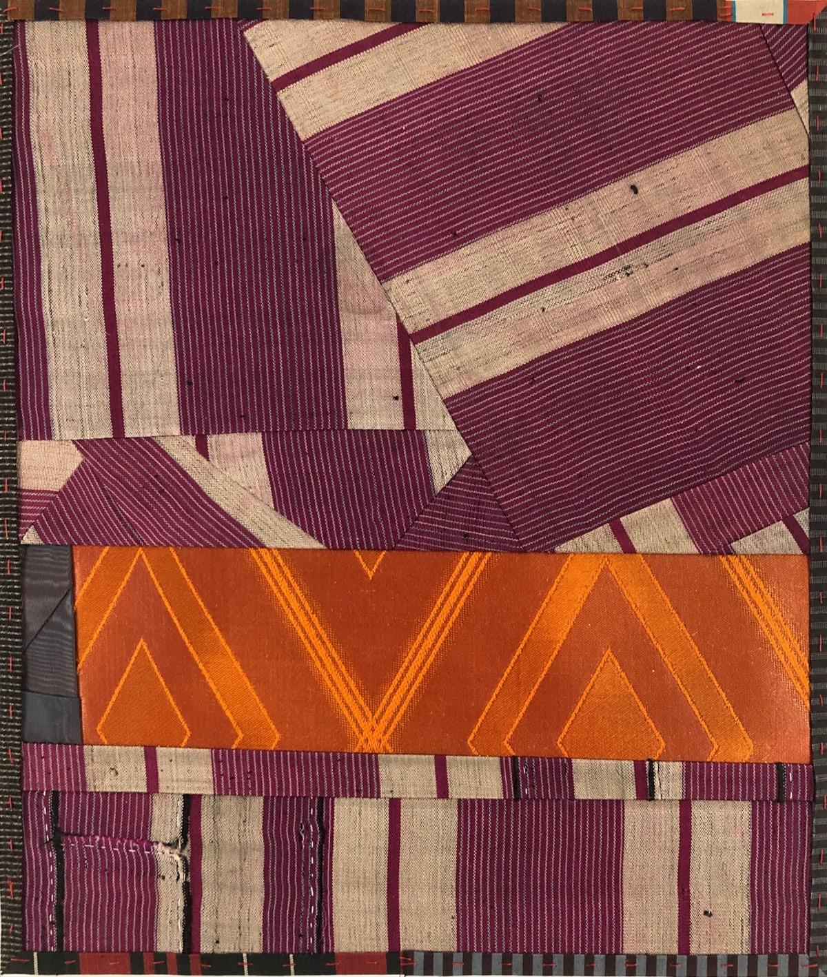 Debra Smith Talking Stories 6, 2020 pieced vintage silk 13 1/2 x 11 1/4 in