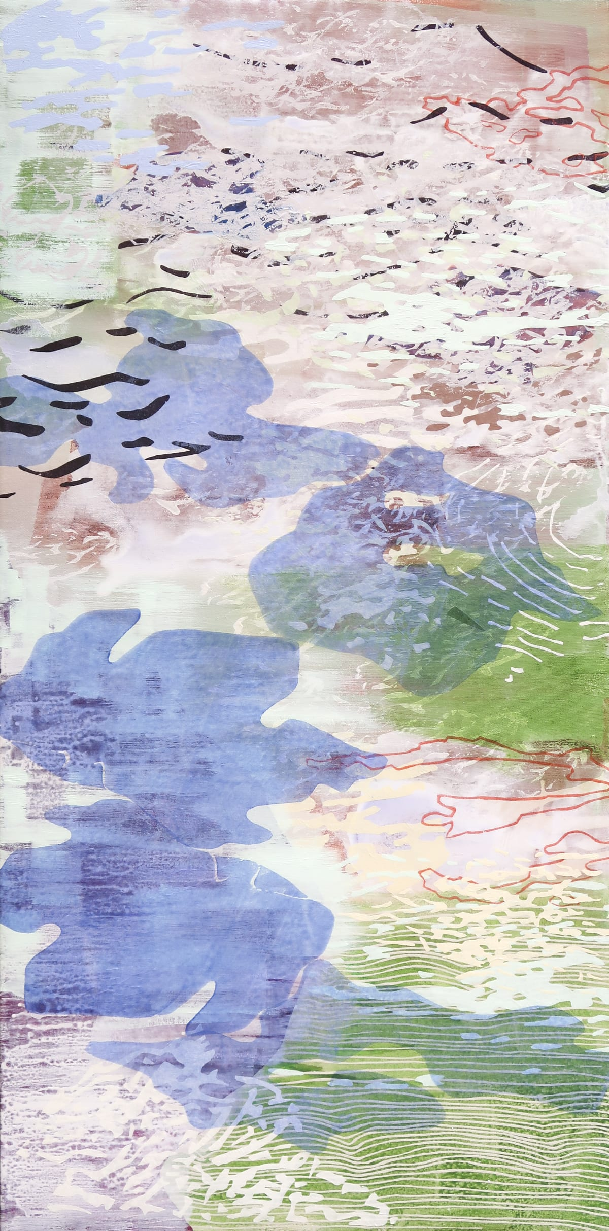Laura Fayer Morning Bloom, 2019 acrylic and Japanese paper on canvas 48 x 24 in.