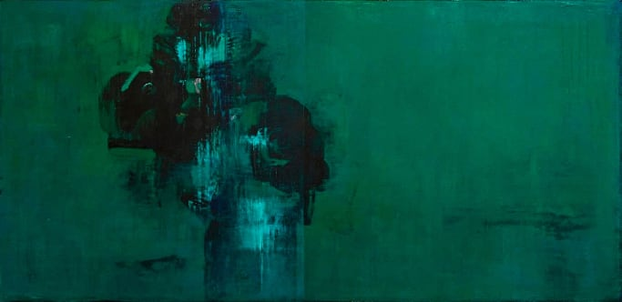 Daniel Brice PP-Green, 2018 oil and acrylic on canvas over panel 38 x 78 in.
