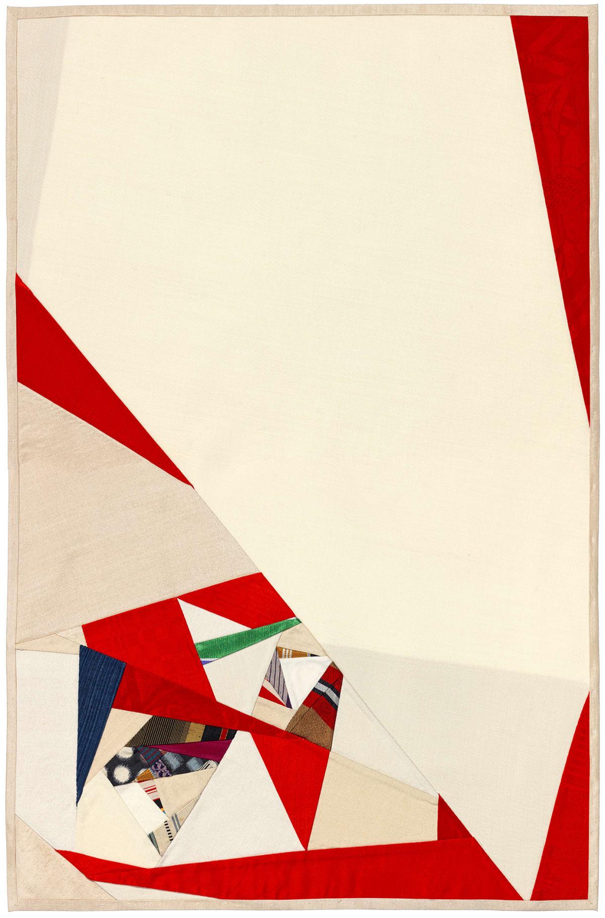 Debra Smith Seeing Red Series, 5, 2019 pieced vintage silk 28 x 19 in.