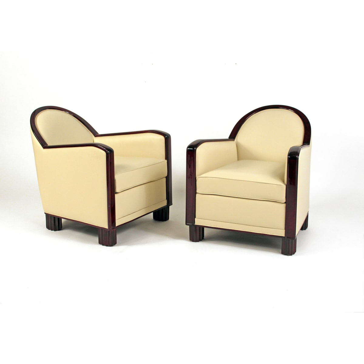 Decoration Interieure Modernes (DIM) Pair of Art Deco Club Chairs, 1930 Height 30 in. x Width 26.50 in. x Depth 30 in