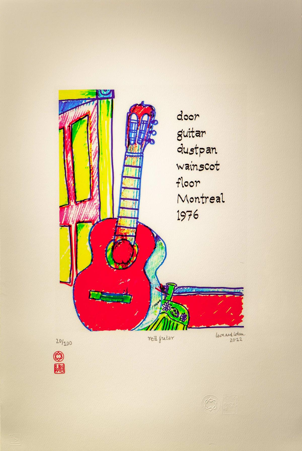 Leonard Cohen (Canadian, 1934-2016), Red Guitar, 2012