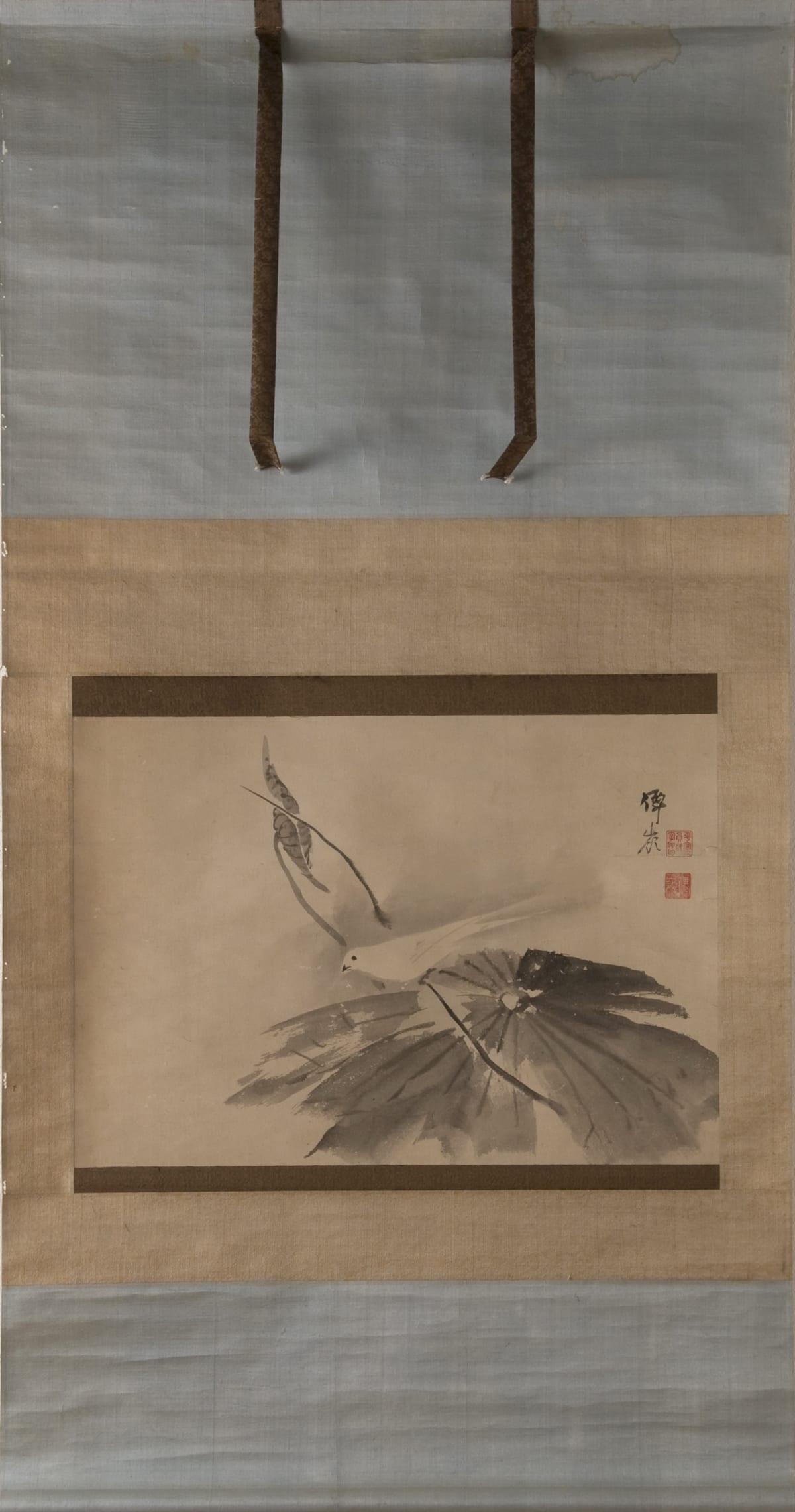 Okyo Maruyama (1733-1795), Bird on lotus leaf (hasu leaf), ca.1750-60