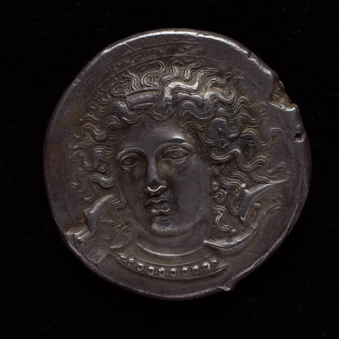 SYRACUSE Coin, etradrachm of Syracuse with head of Arethusa, 405 BC