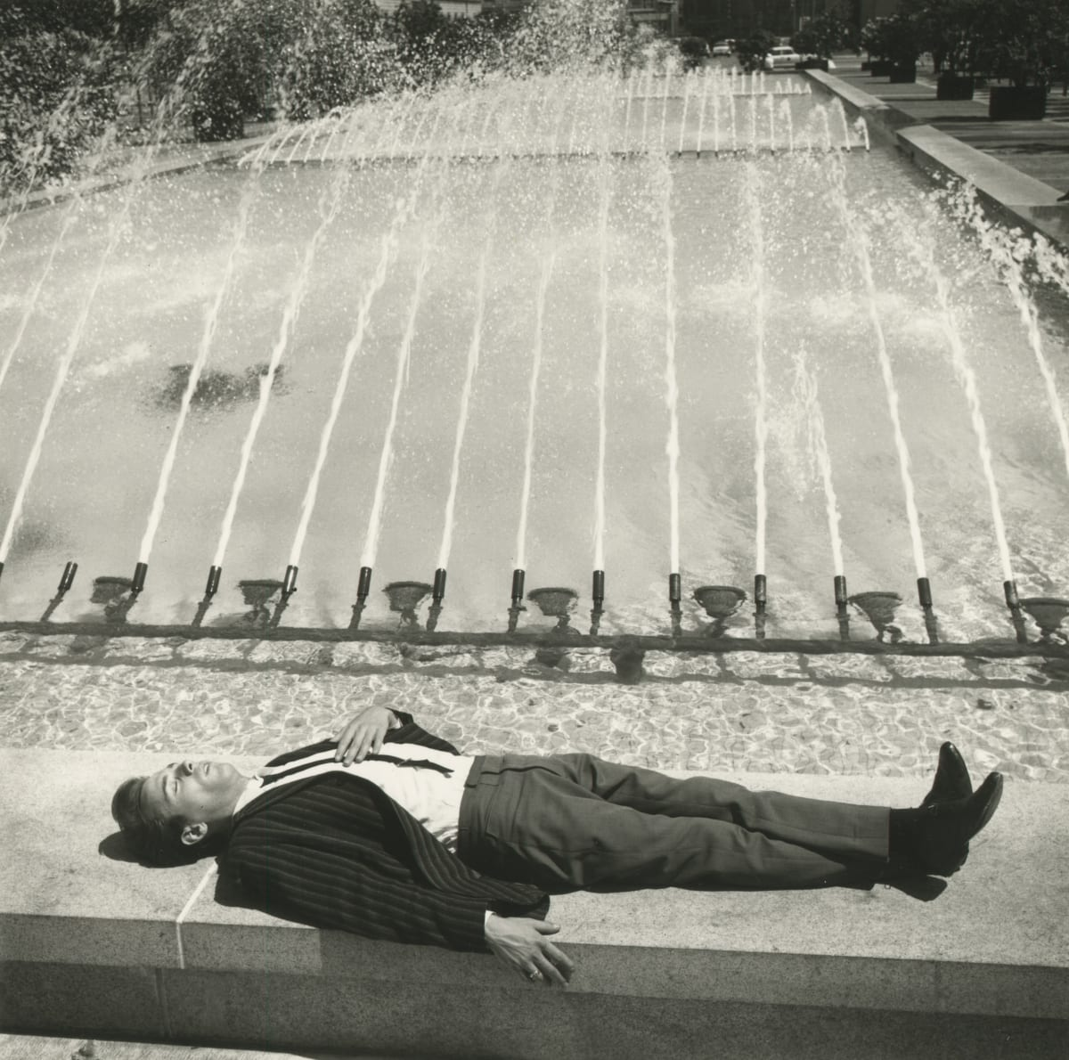 Arthur Tress, Man by Fountain, Civic Center Plaza, San Francisco, 1964